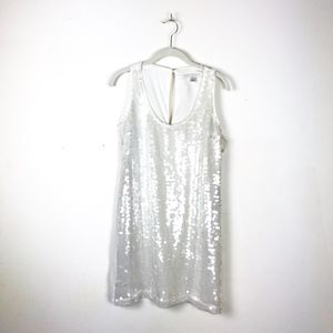 NWT White Sequin Tank Shift Party Night Out Dress